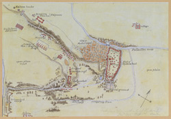 Map of Hyderabad (Sind) and neighbourhood.  January 1852